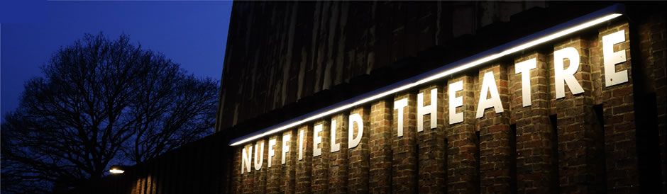 Nuffield sign light up at night
