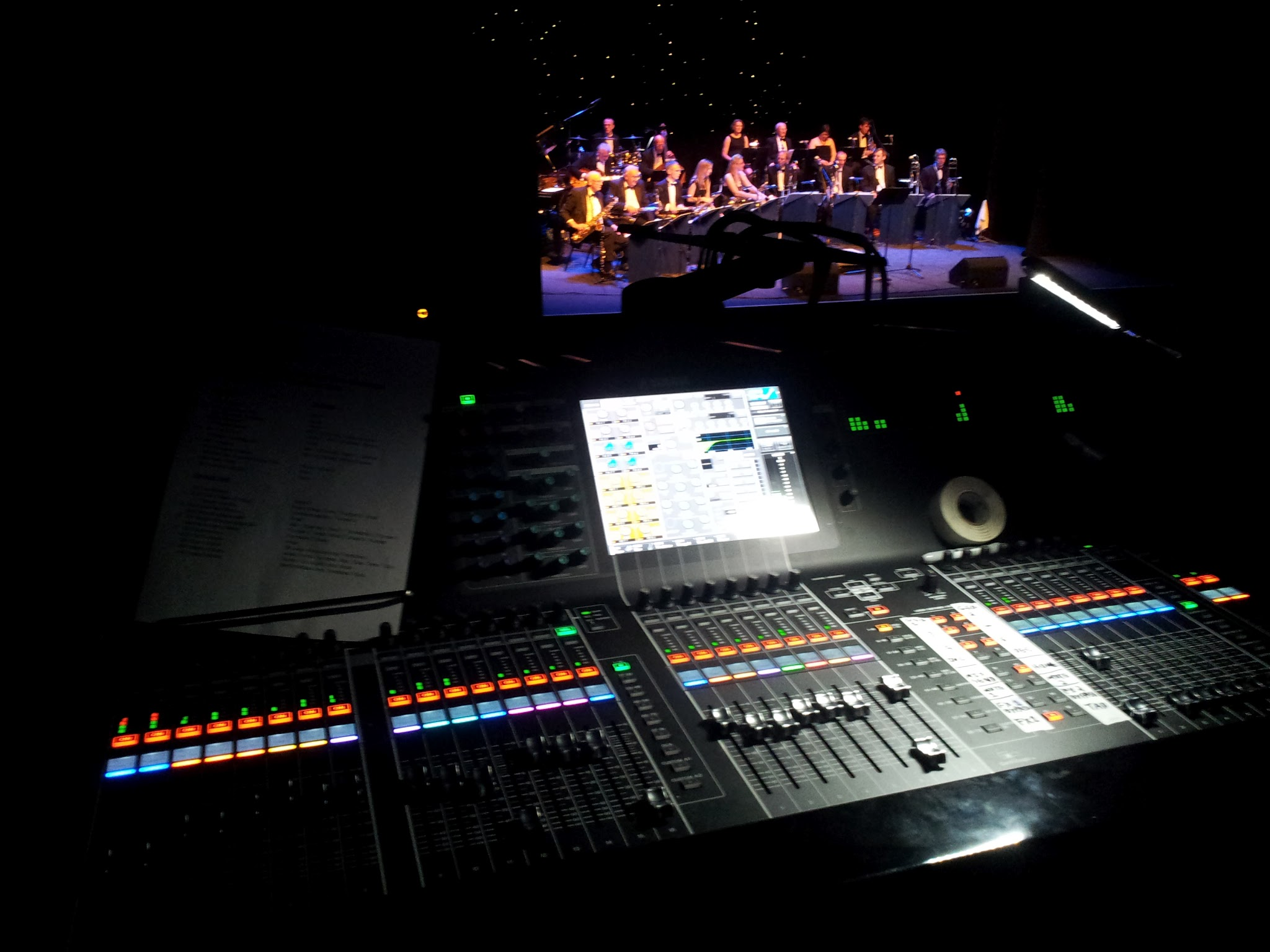 view of the Yamaha CL5 with the Apollo Big Band on stage in the background